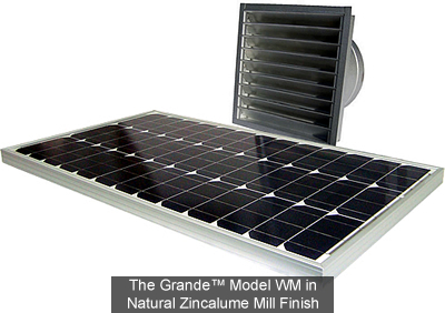The Grande WM model solar fans by Attic Breeze are the most powerful solar powered wall mount ventilation products available.