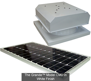 The Grande CMD model solar attic fans and solar fans are the most powerful solar powered ventilation products available.